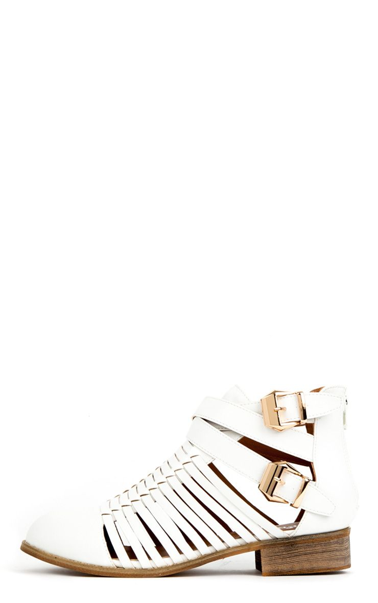 Samantha White Ankle Cut Out Shoe Boots