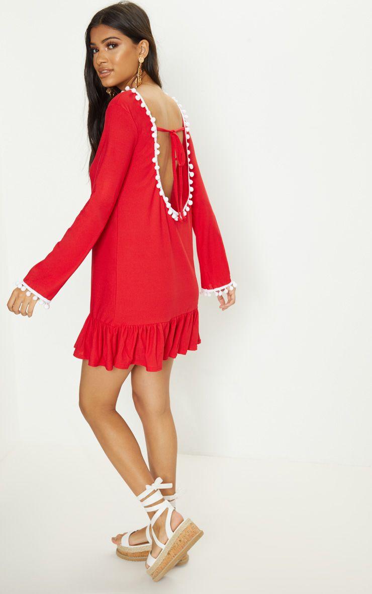 Red Pom Pom Trim Backless Smock Dress