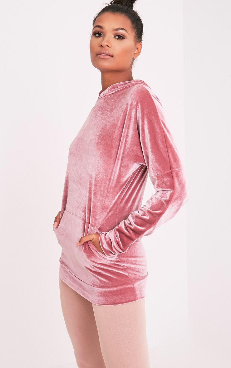 Mai Dusty Pink Velvet Pocket Front Ruched Sleeve Hoodie 4