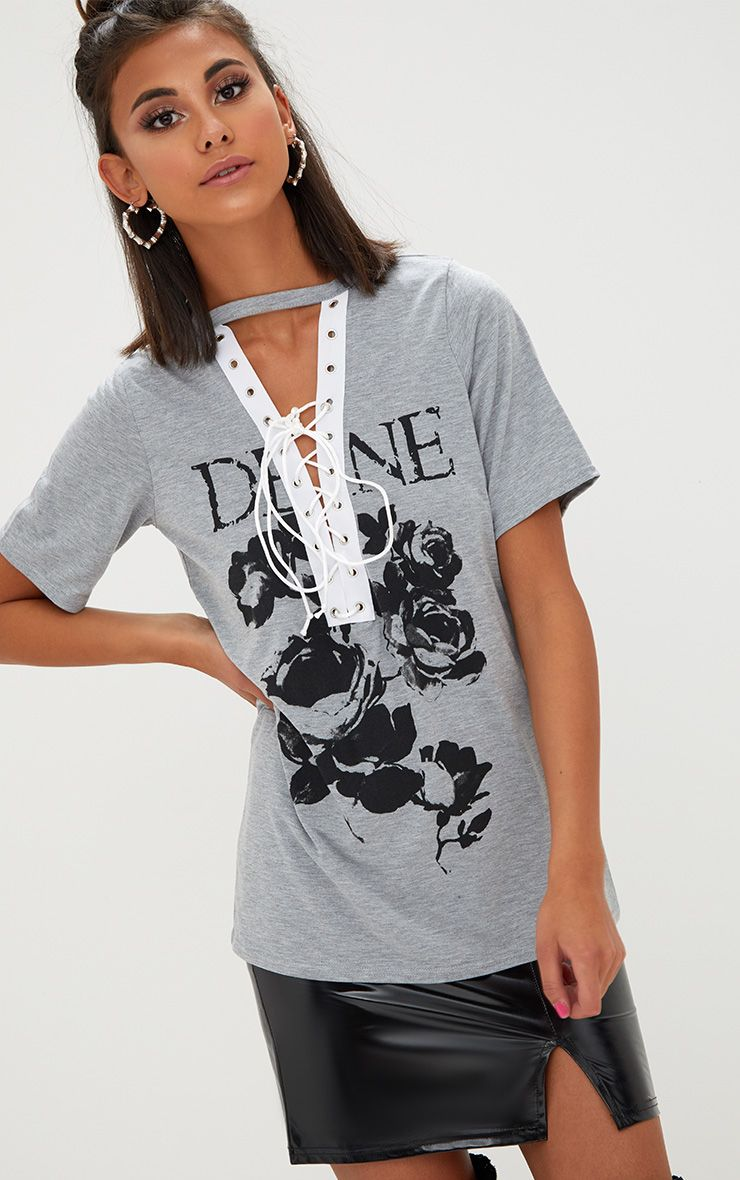 Devine Slogan Grey Marl Lace Up T Shirt