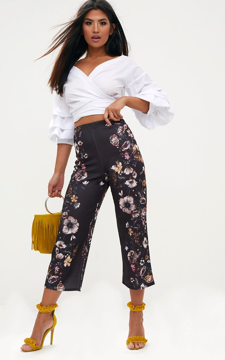 Black Floral Placement Culottes