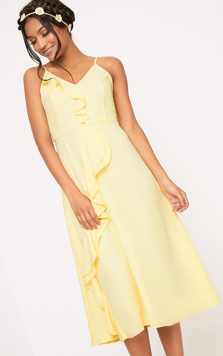 Dallia Lemon Ruffle Detail Midi Dress