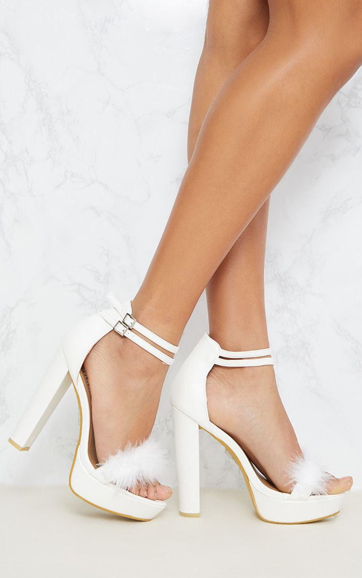 Shea White Feather PU Platform Sandals 1