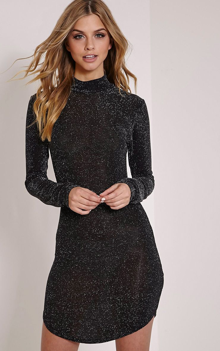 Alby Black Lurex Curve Hem High Neck Dress 1