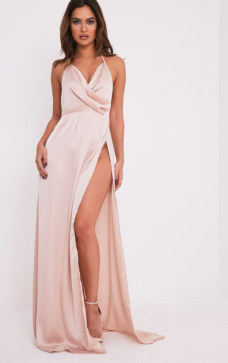 Lucie Champagne Silky Plunge Extreme Split Maxi Dress