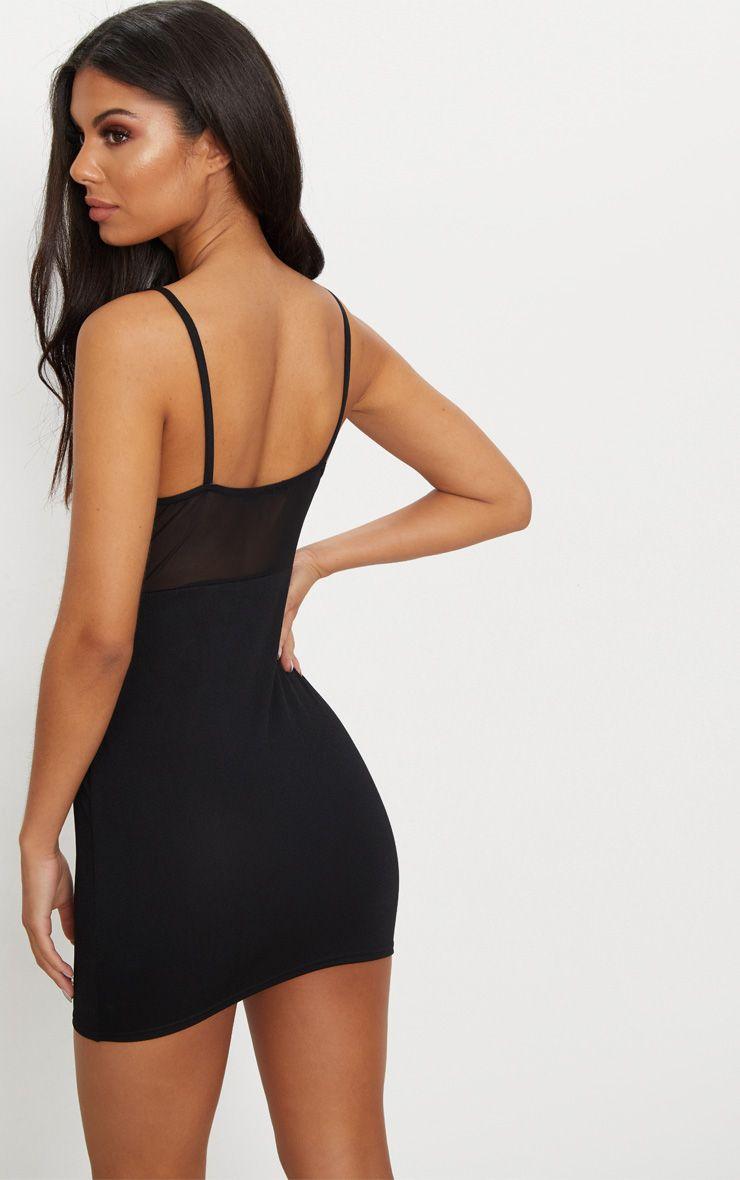 Black Mesh Top Binding Detail Strappy Bodycon Dress Pretty Little Thing yhzbhbX