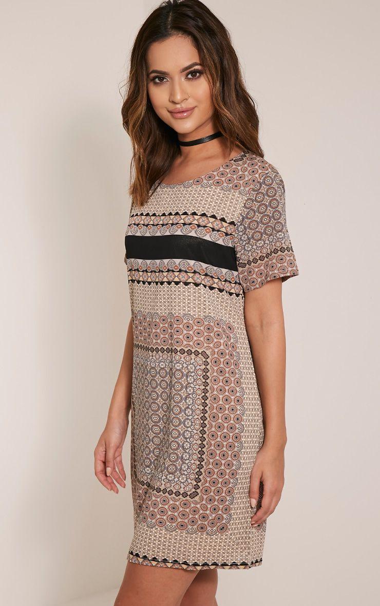 Abella Taupe Print Shift Dress 1