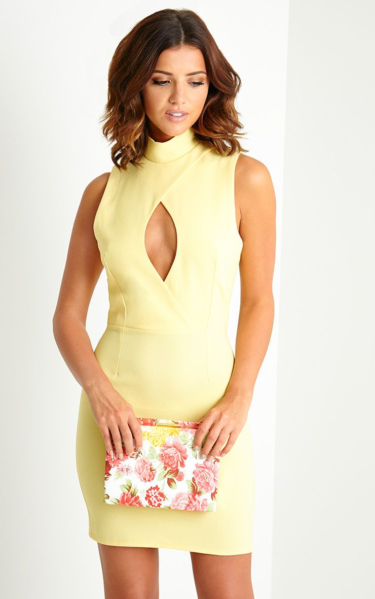 Karlee Yellow Key Hole Mini Dress 1
