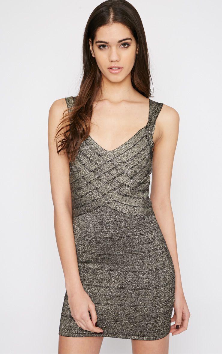 Shayleen Black and Gold Criss Cross Bandage Dress 1