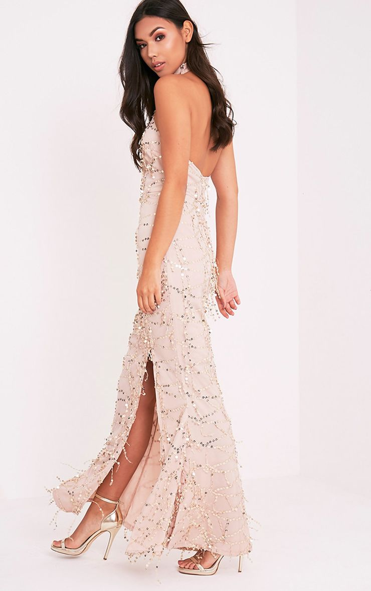 Maya Nude Sequin Fishtail Maxi Dress
