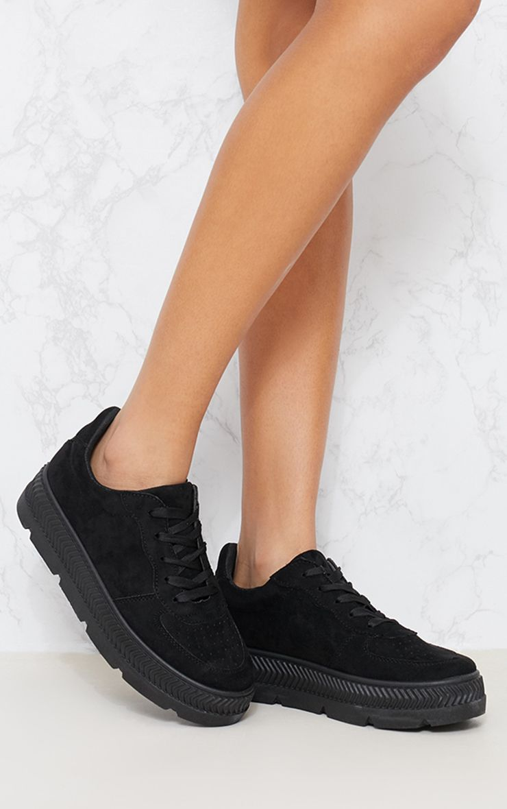 Black Cleated Sole Flatform Trainers