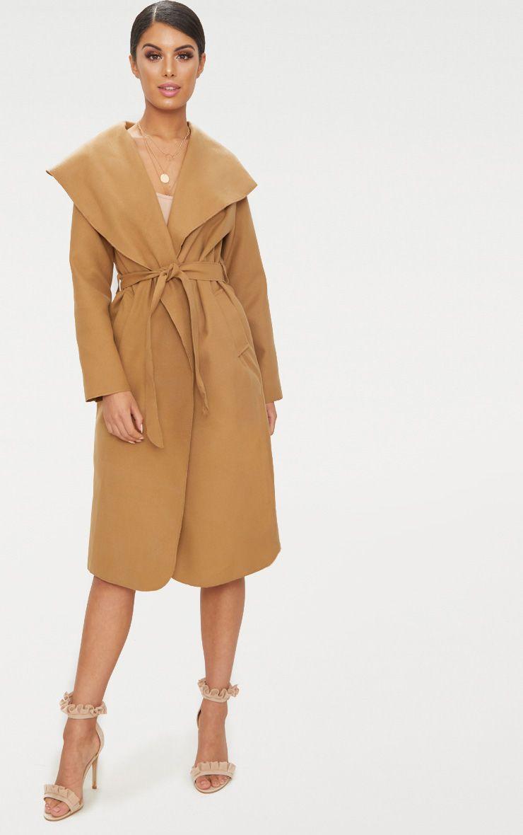 Veronica Camel Oversized Waterfall Belt Coat