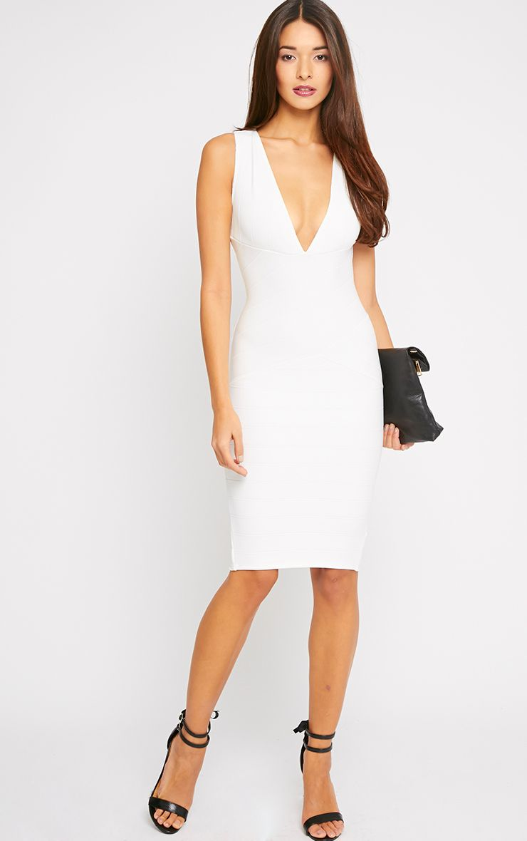 Frankie Cream Deep V Bandage Midi Dress 1