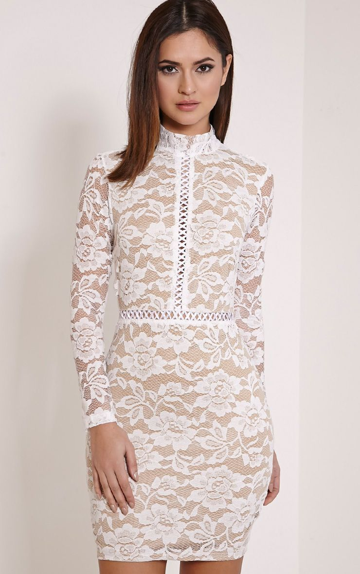 Melinda White Open Back Lace Mini Dress 1