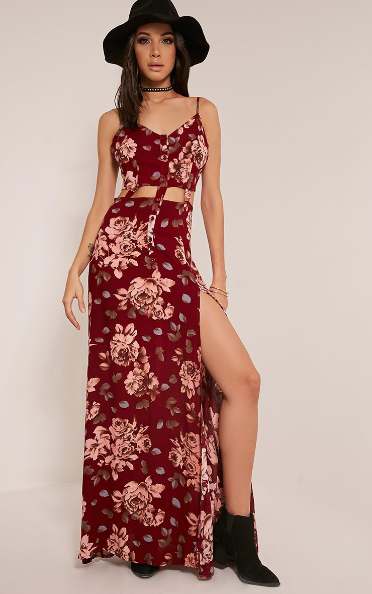 Saleena Burgundy Cut Out Floral Maxi Dress 1