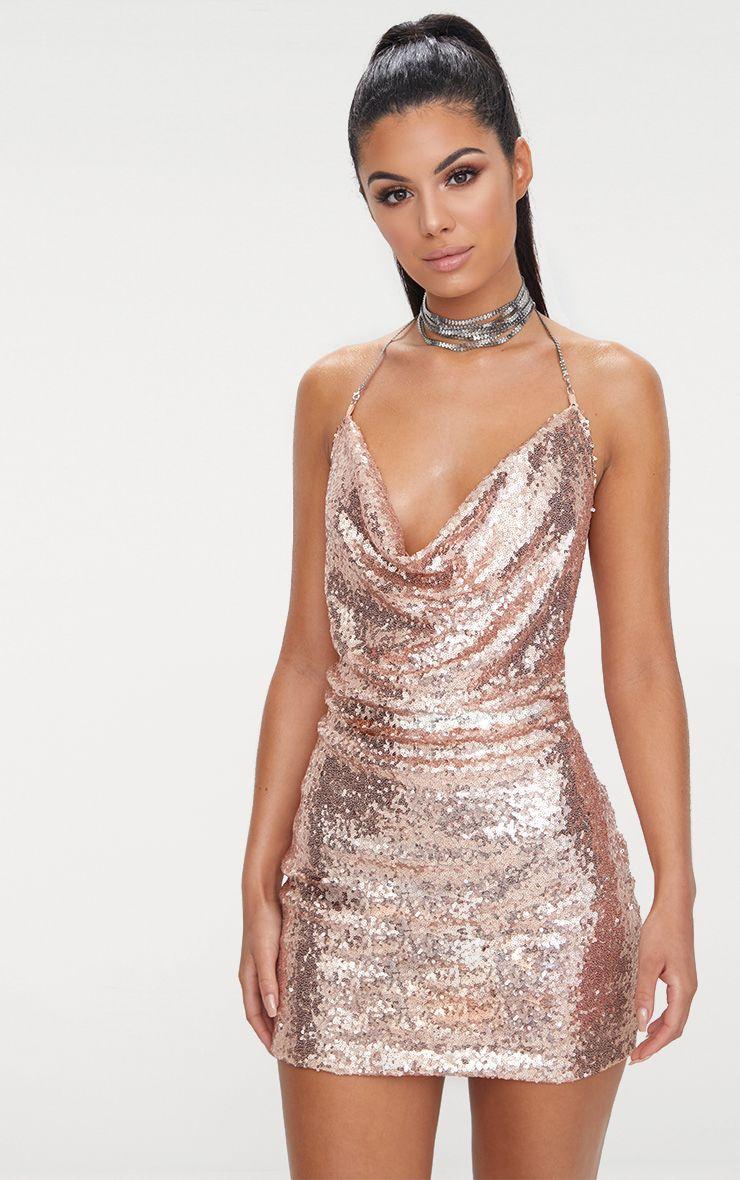 Tarria Rose Gold Sequin Chain Choker Mini Dress