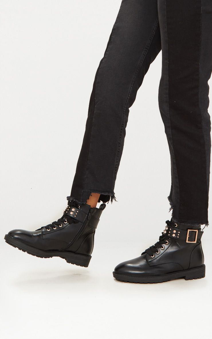 Black Studded Hiker Boot