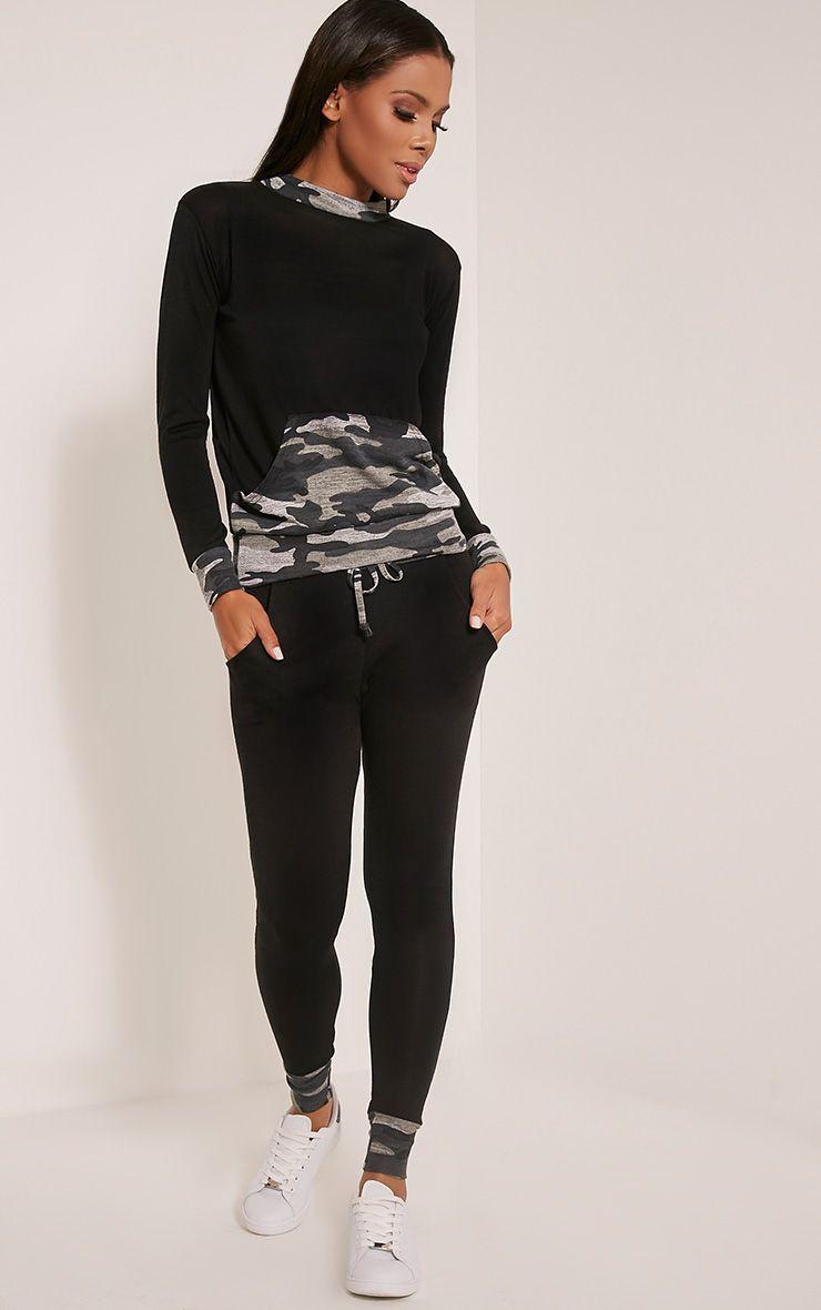 Kimora Black Camouflage Contrast Tracksuit Bottoms 1