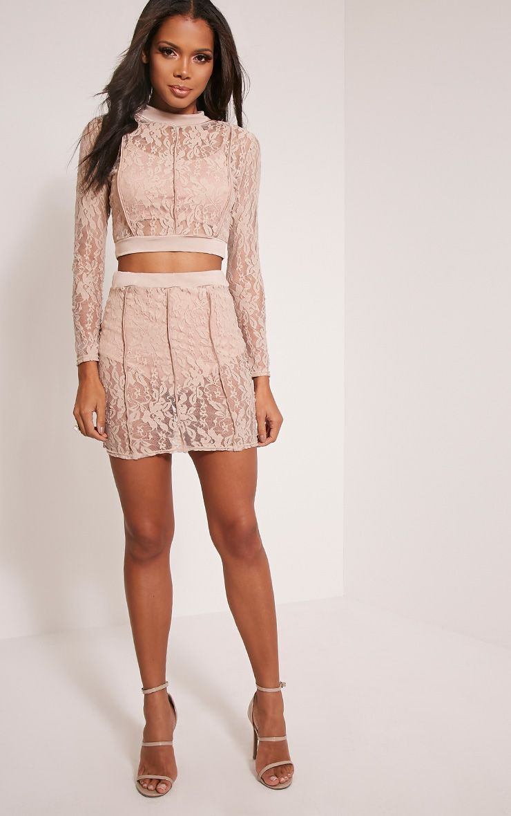 Oliviana Taupe Sheer Lace Mini Skirt 1