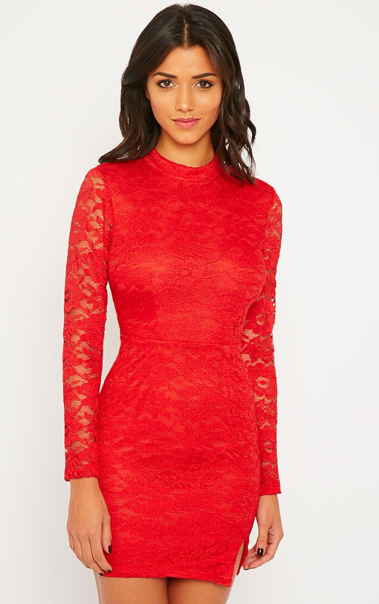 Amber Red Premium Lace Cut Out Back Dress 1