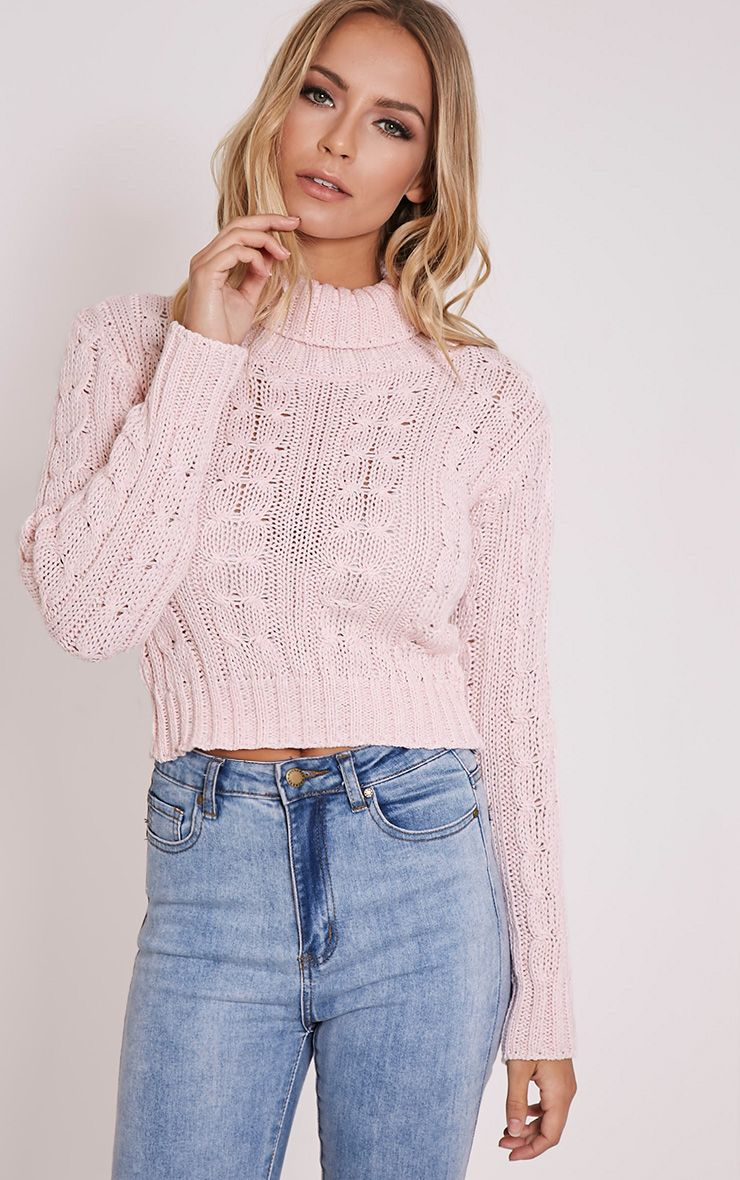 Brook Pink Cable Knit Roll Neck Crop Jumper 1