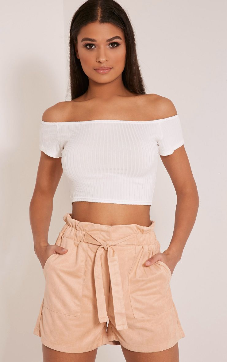 Trudy Peach Faux Suede Shorts 1