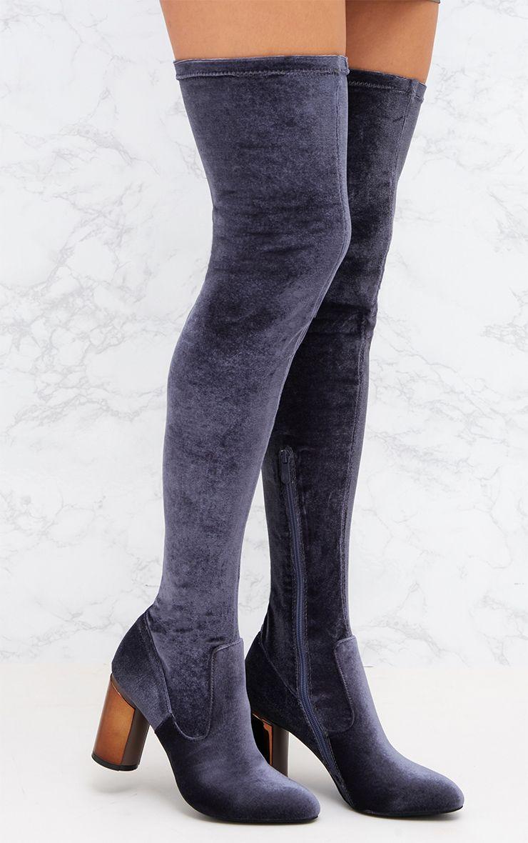 Grey Velvet Metal Heel Over The Knee Boot
