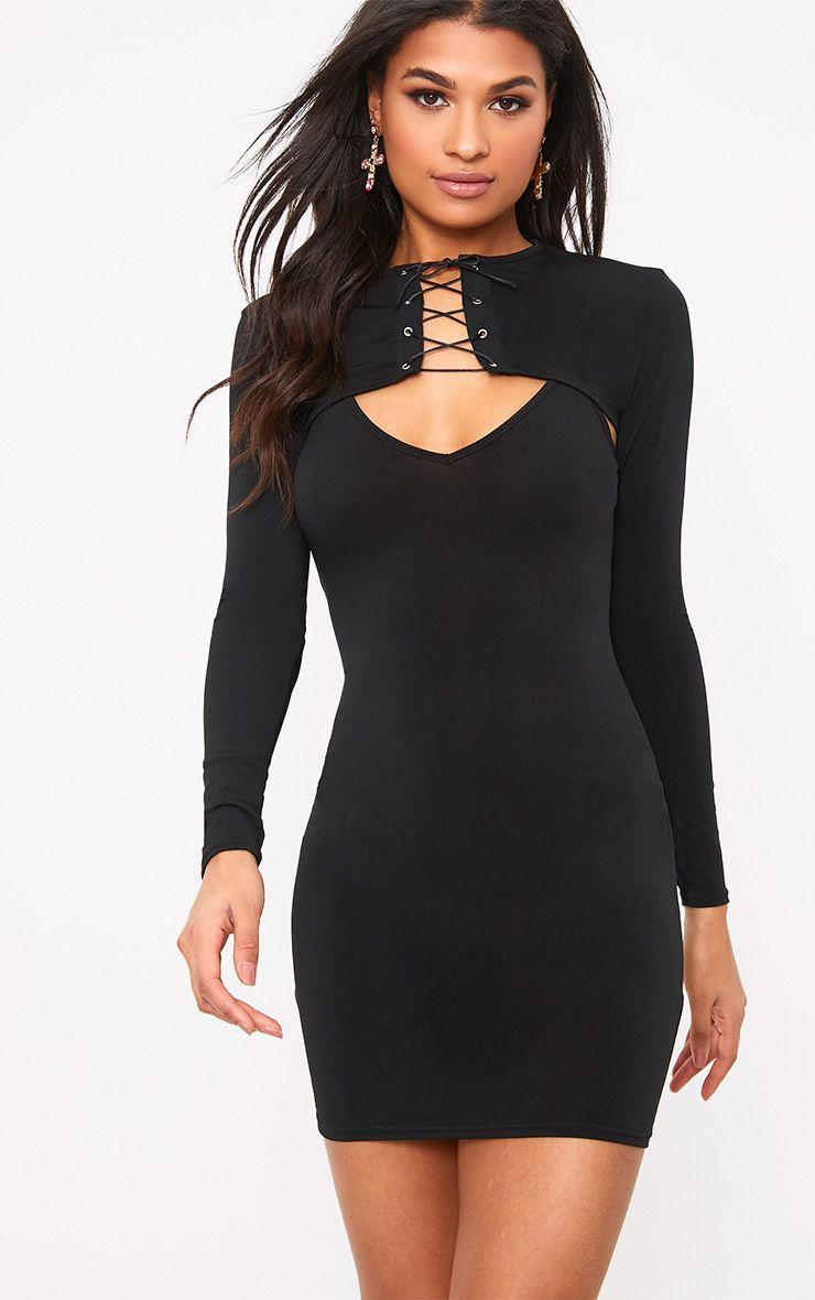 Narissa robe moulante noire avec top corset