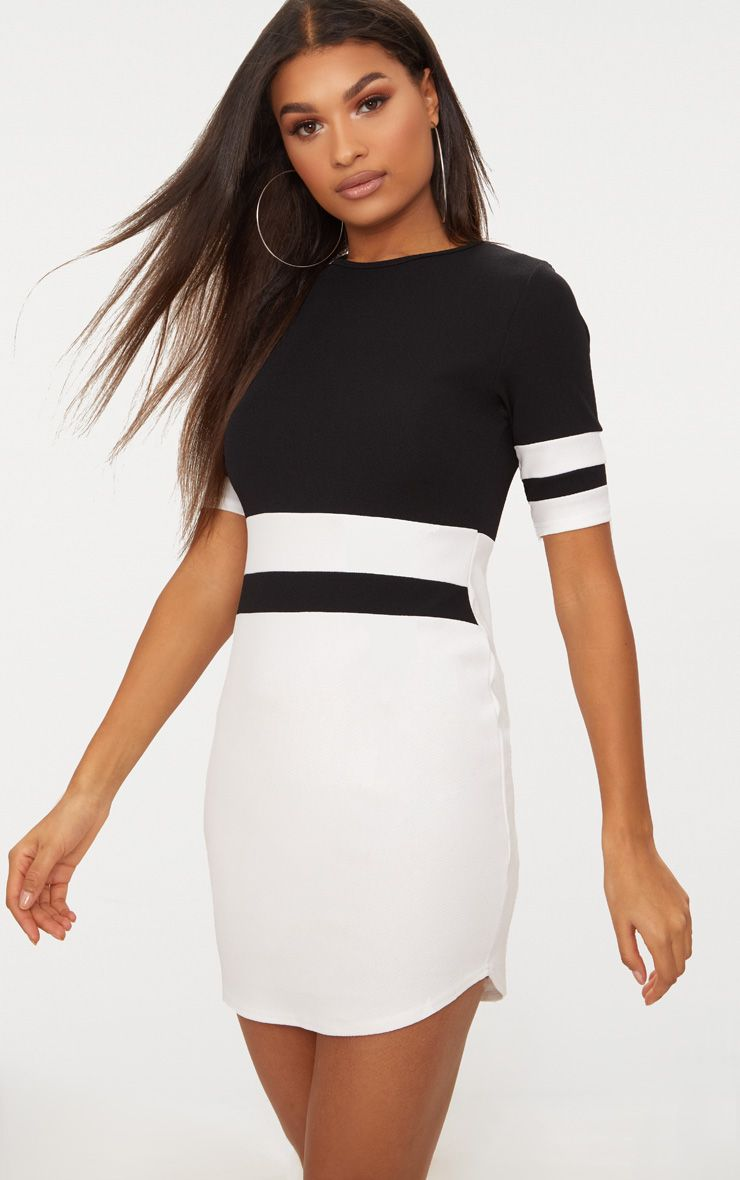 Monochrome Sports Stripe Bodycon Dress