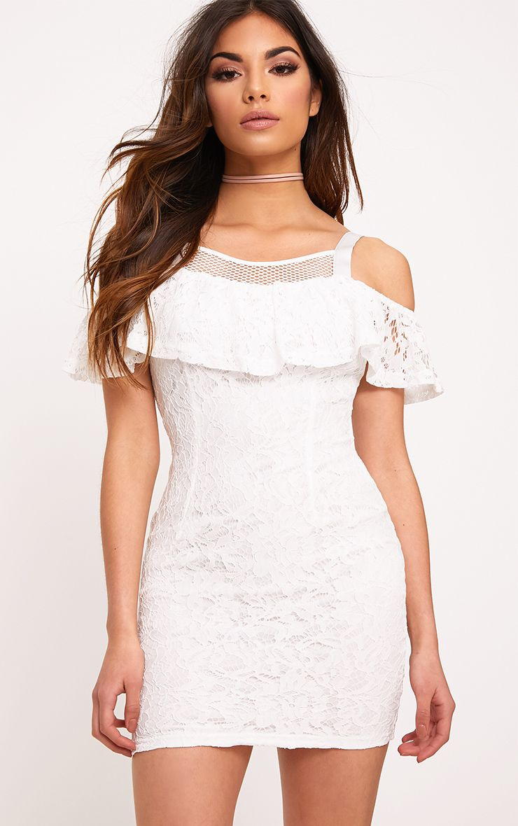 Tiyrah White Lace Ruffle Cold Shoulder Bodycon Dress