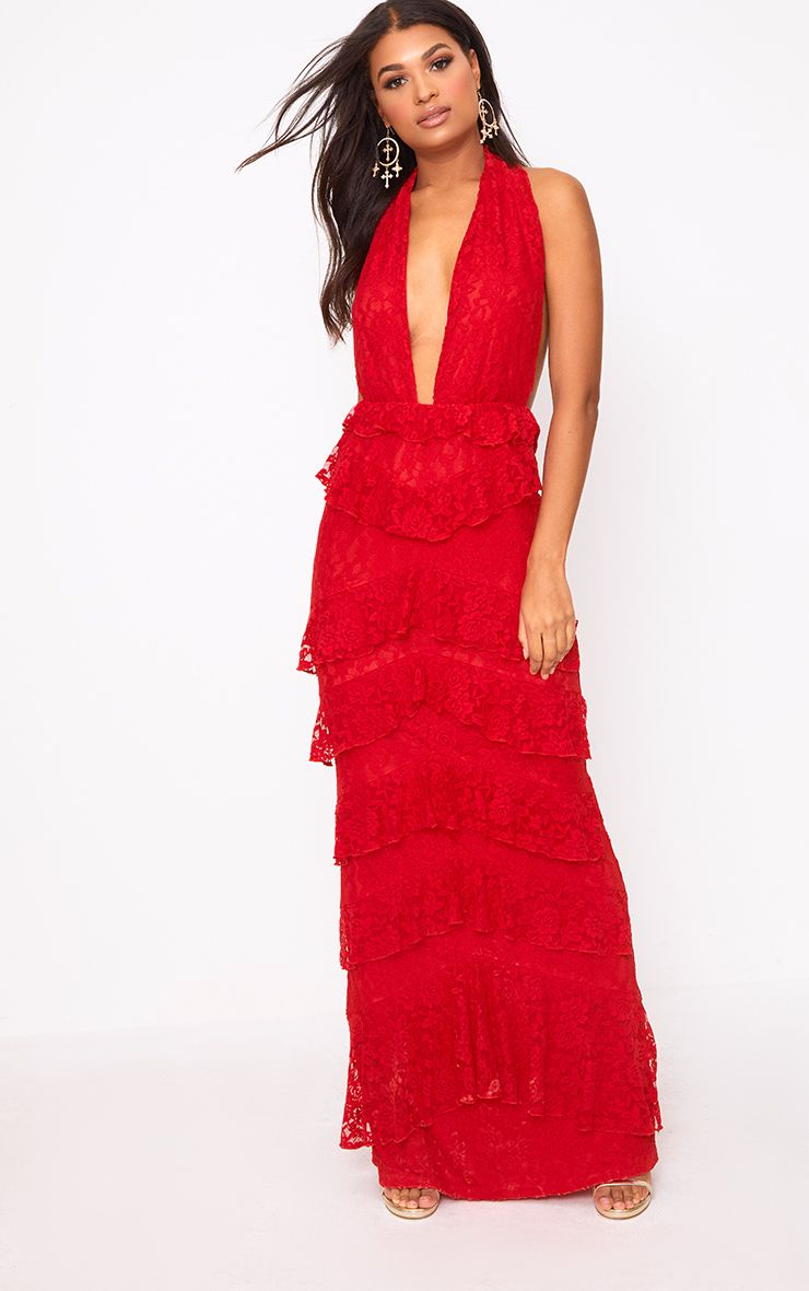 Red Lace Frill Detail Maxi Dress