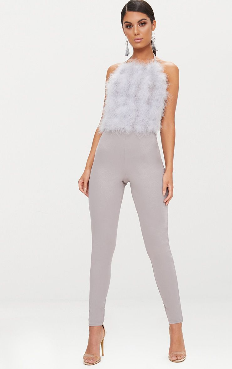 Grey Feather Front Jumpsuit