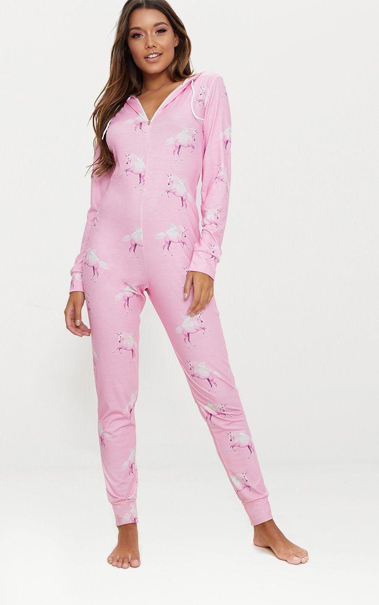 PrettyLittleThing Pink Unicorn Print Onesie