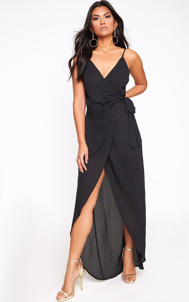 Black Strappy Wrap Over Maxi Dress