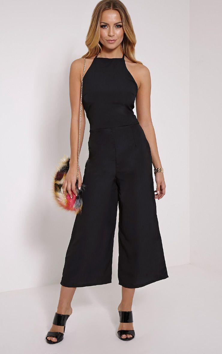 Nevaeh Black Halterneck Culotte Jumpsuit 1
