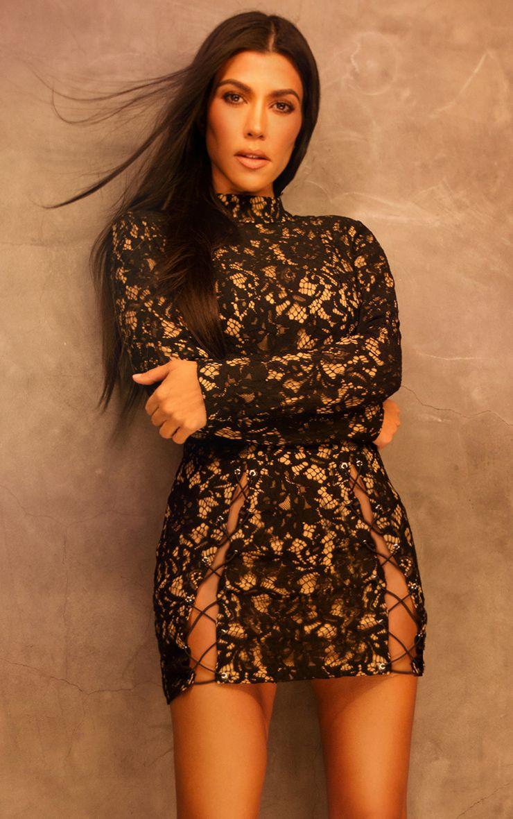 Black Lace Eyelet Detail Extreme Split Bodycon Dress