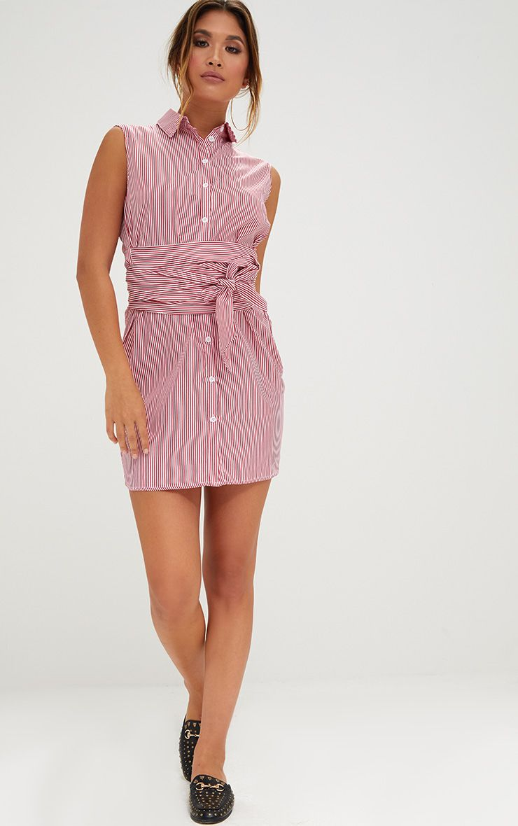Red Sleeveless Pinstripe Tie Waist Shirt Dress