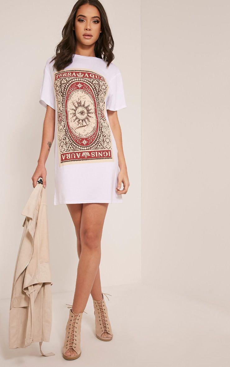 Tarot Card Printed White T Shirt Dress