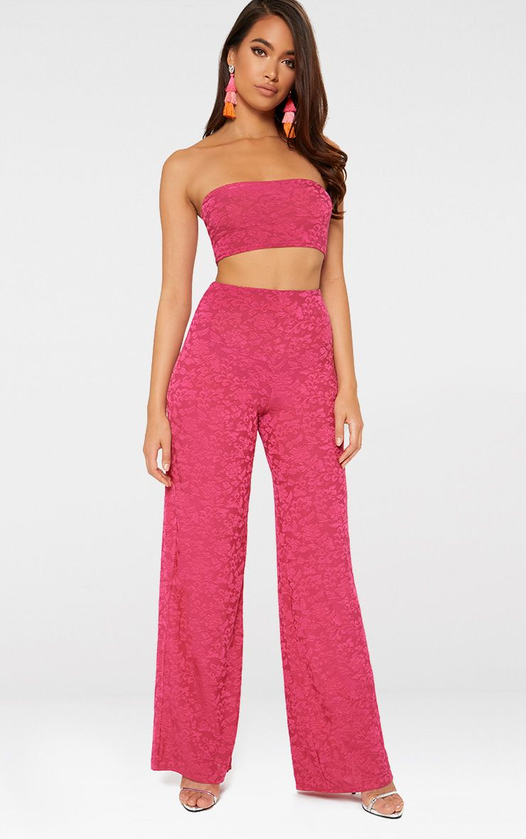Hot Pink Jacquard Wide Leg Trousers