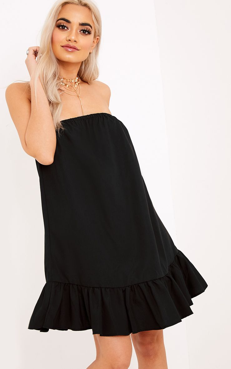 Morandia Black Strapless Flared Hem Shift Dress Black