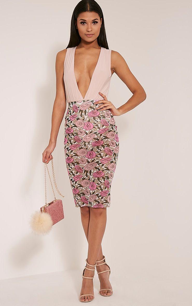 Denon Pink Floral Mesh Midi Skirt