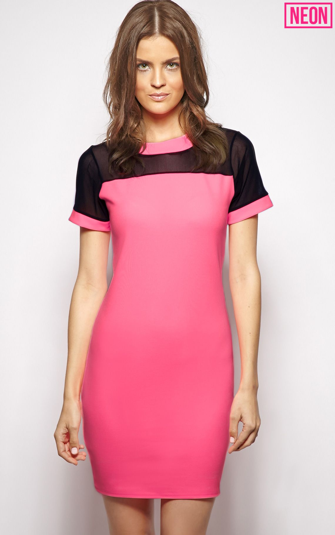 Molly Pink Mesh Panel Shift Dress 1
