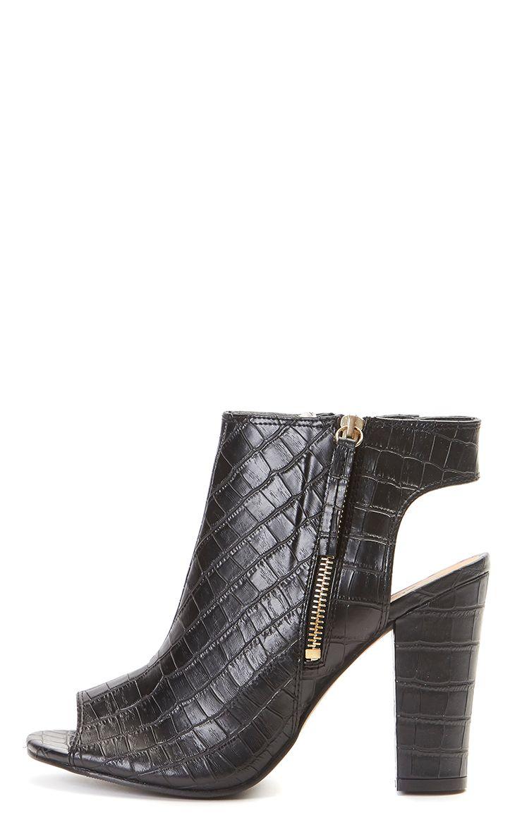 Billie Black Croc Peep Toe Leather Ankle Boot 1
