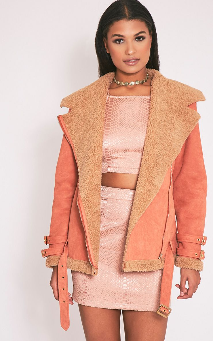 Emilia Deep Peach Faux Suede Aviator Jacket 1