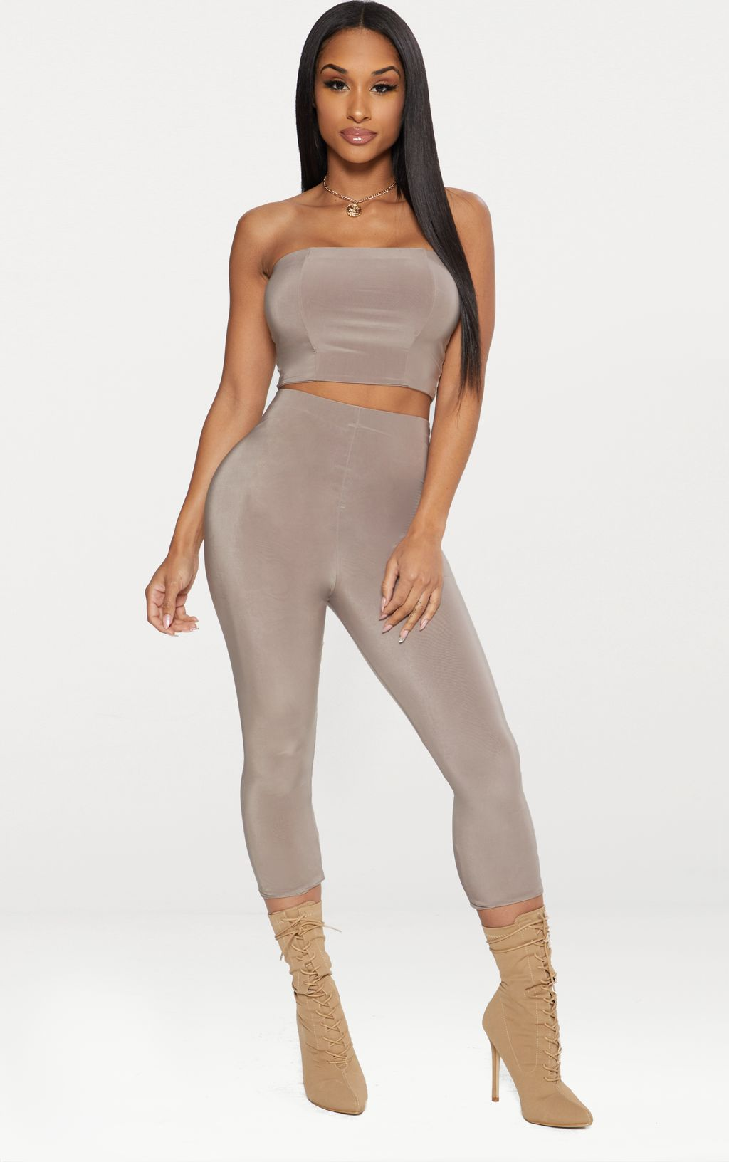 Taupe Second Skin Slinky Cropped Legging