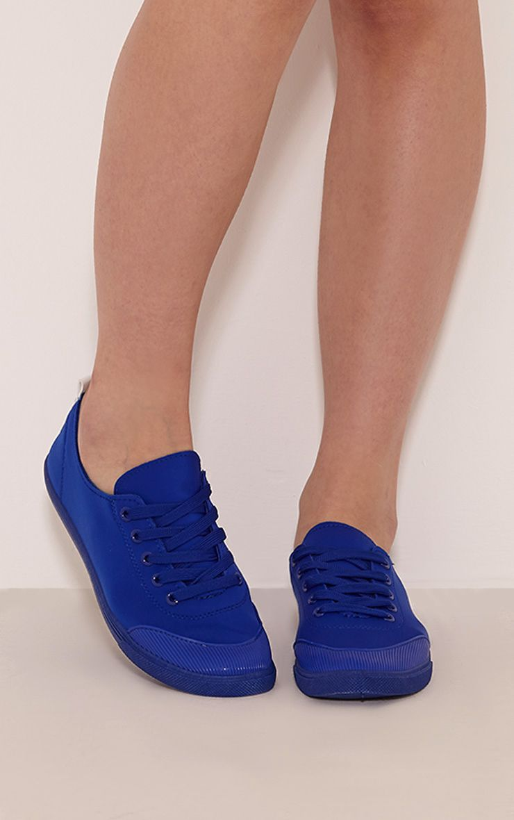 Klaudia Blue Casual Lace Up Plimsolls 1