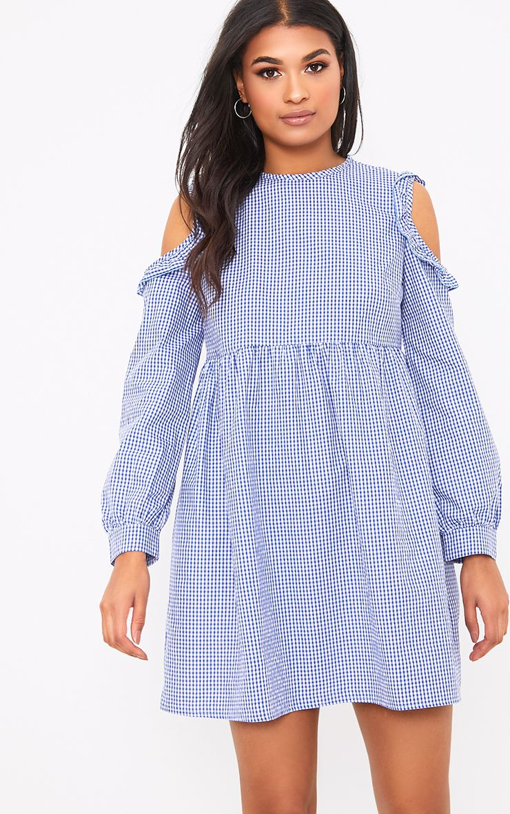 Mercie Blue Gingham Cold Shoulder Frill Smock Dress 1