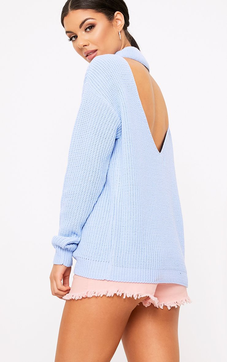 Shawnette Blue Cut Out Back Knitted Jumper