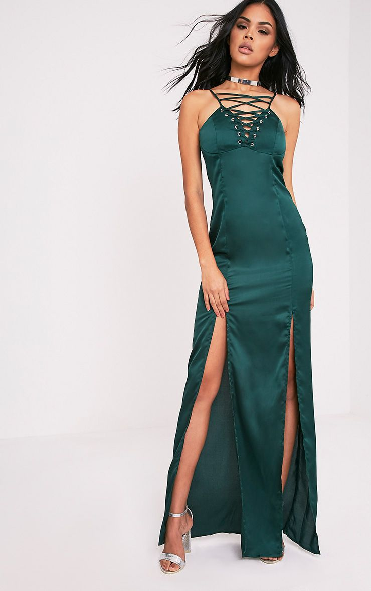 Kiria Emerald Green Lace Up Satin Maxi Dress