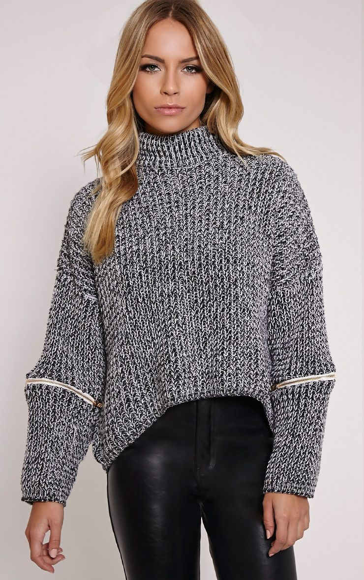 Tori Grey Zip Detail Jumper 1